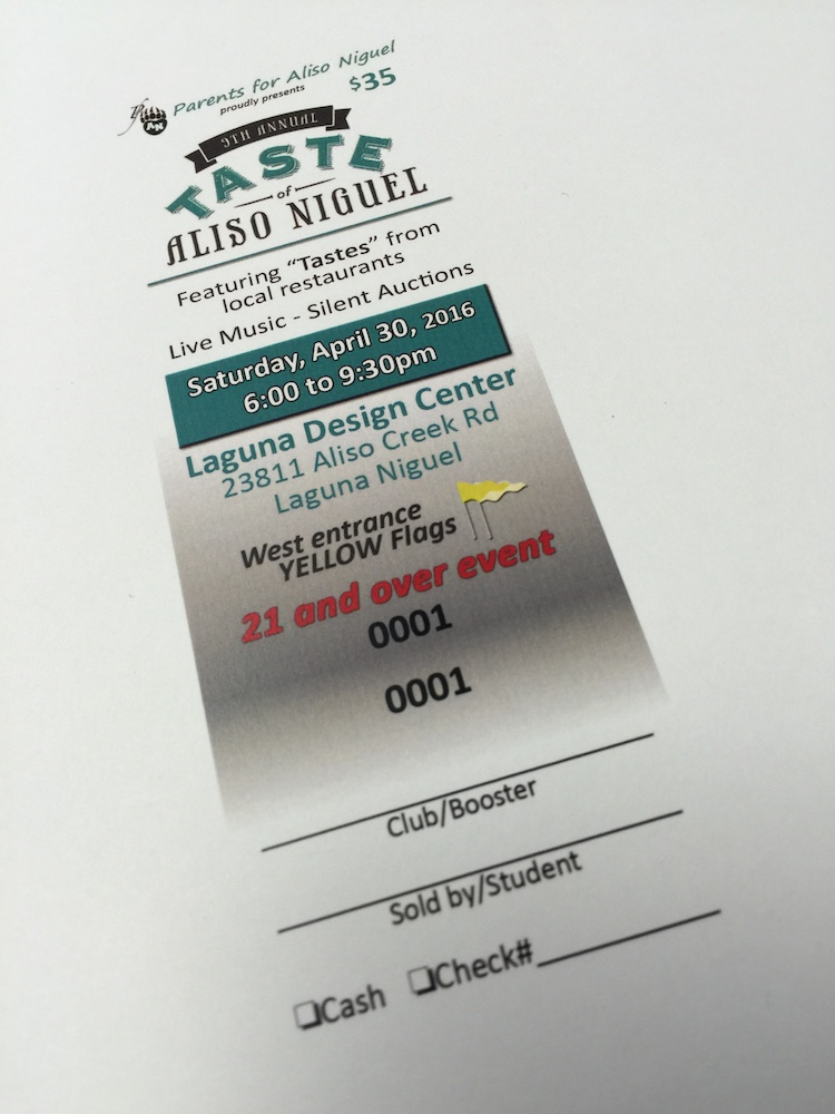 full color events ticket printing services in orange county ca