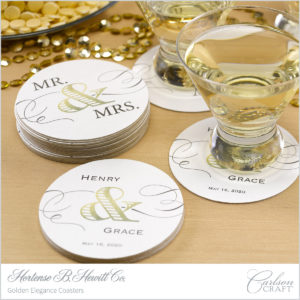 Be sure everyone knows whose wedding they're at with these custom printed wedding coasters.