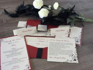 Burgundy, Black and White Wedding Invitations.