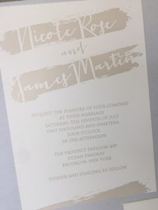 Wedding Invitations using Letterpress features with gold printing.