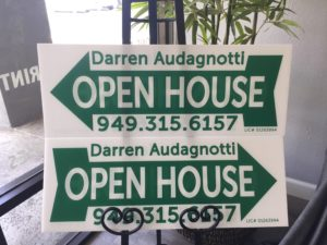 Custom printed real estate open house signs