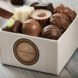 Custom printed labels for box pf chocolates.