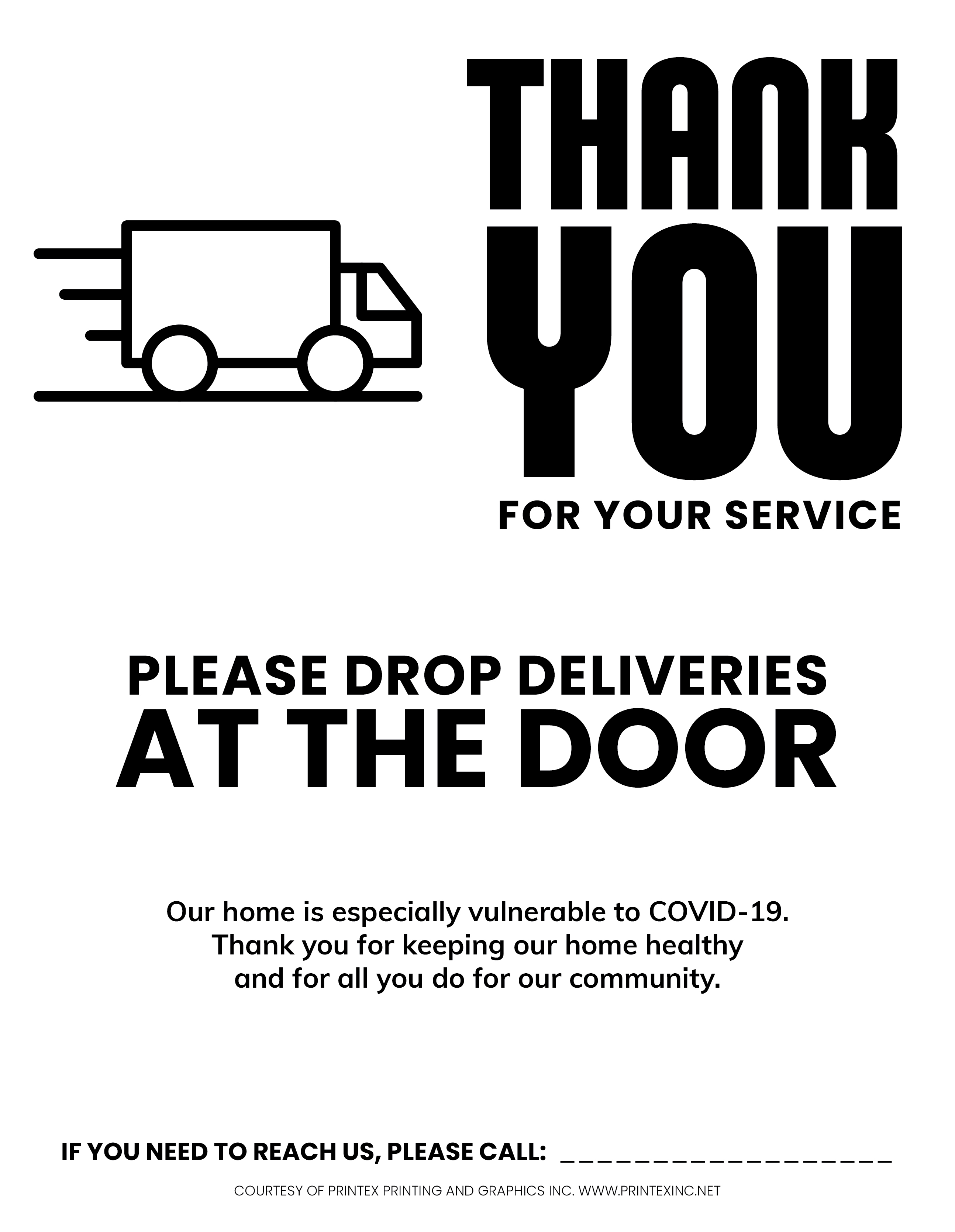 Contactless Delivery Covid Sign Black and White