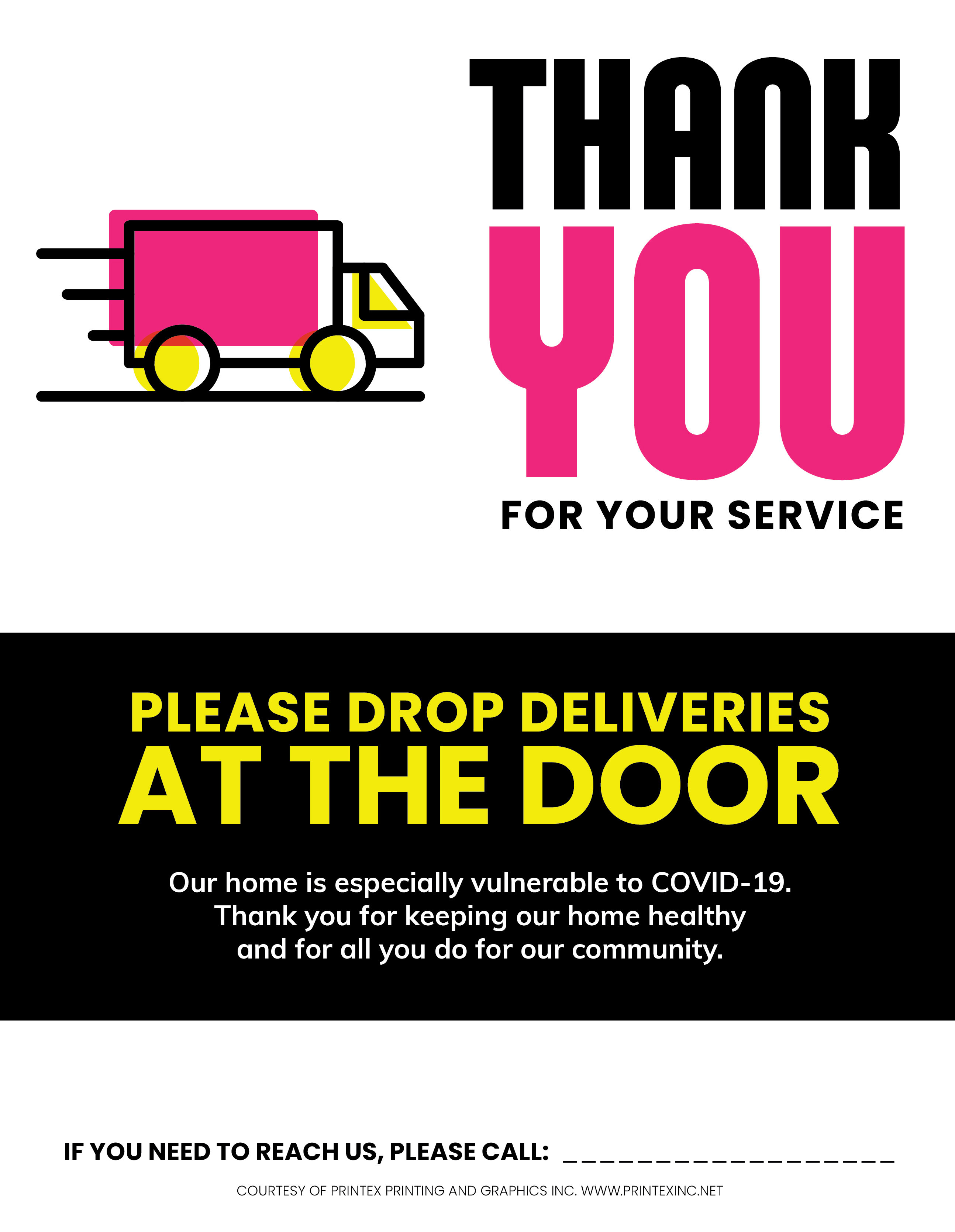 Contactless Delivery Covid Sign Pink Black and Yellow