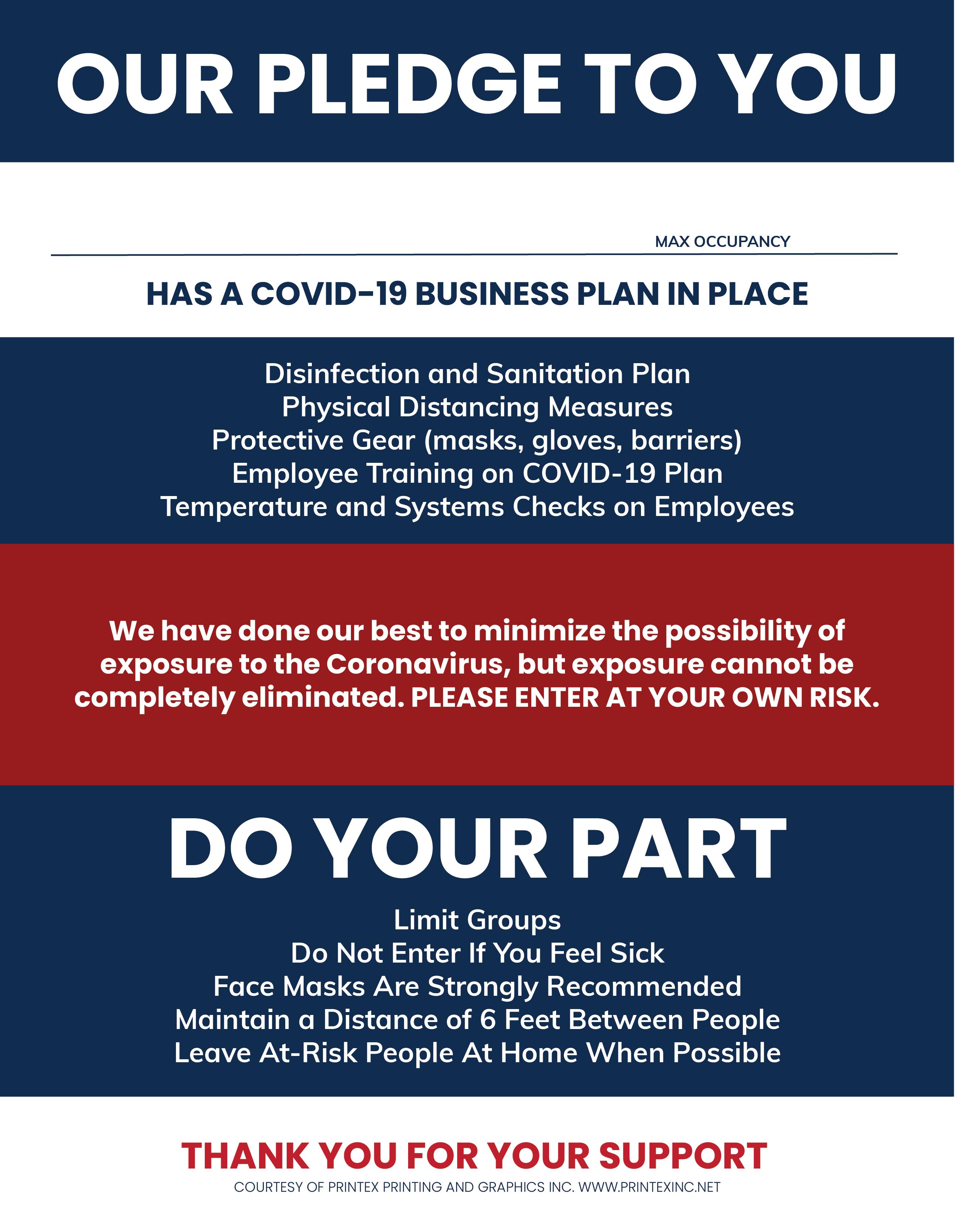 COVID-19 Business Plan Pledge Sign